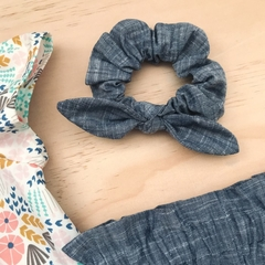 Bow Scrunchie - Cotton - Ponytail - Hair Tie - Denim Blue