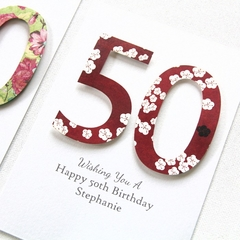 Any Age Personalised card Birthday red blossoms
