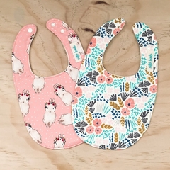 Set of 2 Bibs - Cream Floral - Pink Bunny - Cotton - Baby Girl