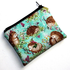 Small Coin Purse in Cute Hedgehog Fabric