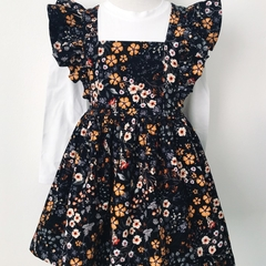 Size 2 - Pinafore Dress - Mustard Black Floral Cord - Retro - Ruffles - Girls