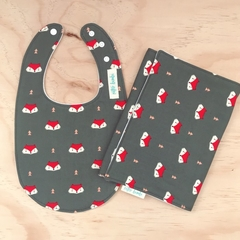 Bib & Burp Cloth Set - Fox - Olive - Cotton - Unisex