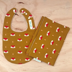 Bib & Burp Cloth Set - Fox -Mustard - Cotton - Unisex