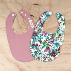 Set of 2 Bibs - Cream Floral - Dusty Pink- Cotton - Baby Girl