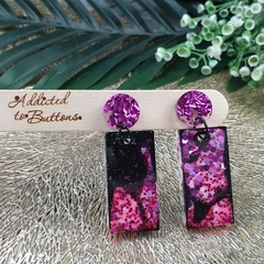 Super Sparkly Purple Twinkle Resin - Rectangle Stud Dangle earrings