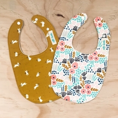 Set of 2 Bibs - Cream Floral - Mustard Bunny - Cotton