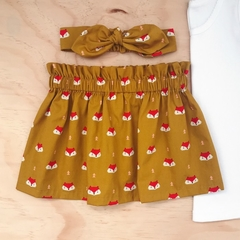 Size 2 - High Waist Skirt - Fox -Cotton - Mustard