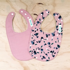 Set of 2 Bibs - Dusty Pink - Floral - Cotton - Baby Girl