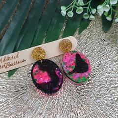 Super Sparkly Purple Twinkle Resin - Oval Stud Dangle earrings