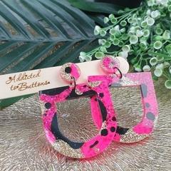 Punk Pink U Drop Glitter Resin - Stud Dangle earrings
