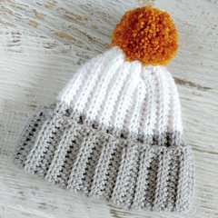 Newborn Grey and White Ribbed Crocheted Baby Beanie with Mustard Pompom