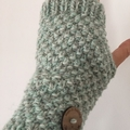 Grey handwarmers adult sized, texting gloves mint cream fingerless gloves alpaca