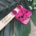 Super Sparkly Neon Pink Resin - Rectangle Stud Dangle earrings