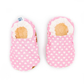 Soft Sole Baby Shoes - White Hearts on Pink
