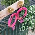 Circle Dot Pink Gold Black Glitter Resin - Stud Dangle earrings