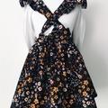 Size 2 - Pinafore Dress - Mustard Black Floral Cord - Retro - Ruffles - Girls
