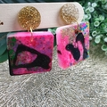 Super Sparkly Neon Pink Resin - Square Stud Dangle earrings