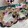 Princess Pink Flower Power Glitter Resin - Stud Dangle earrings