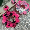 Neon Pink Flower Power Fluro Glitter Resin - Stud Dangle earrings