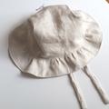 Adjustable Linen Baby Sun Bonnet - Stone