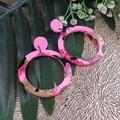 Pale Pink - Glitter Sparkles - Resin - Stud Dangle earrings