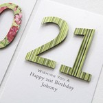 Any Age Personalised card Birthday green stripes