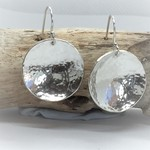 Pierced Earrings, Domed Hammered Sterling Silver Earrings, Drop Earrings,