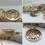 Pierced Domed Pendant, Brass Copper Necklace | Unique Handcrafted Pendant Gift