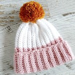 Newborn Dusty Pink White Rib Crocheted Baby Beanie with Mustard or Grey Pompom