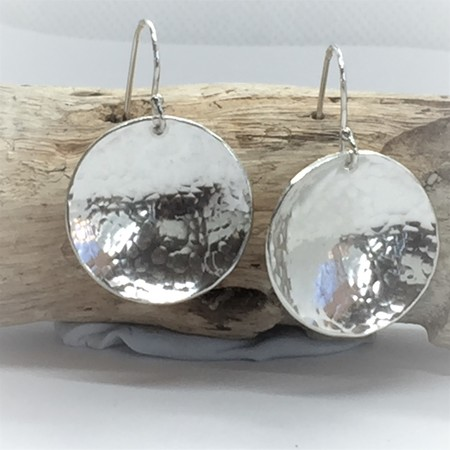 Pierced Earrings, Domed Hammered Silver Earrings, Sterling Silver Earrings,