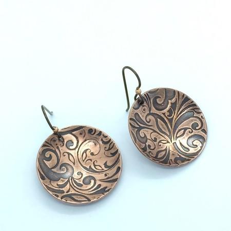 Oxidised Pierced Earrings, Textured Copper Earrings, Domed Dangle Earring,