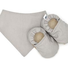 Neutral Grey Baby Soft Sole Baby Shoes and Bandana Bib Set