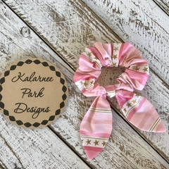 """Hair Scrunchie with Bow """"Pink & Gold"""""""