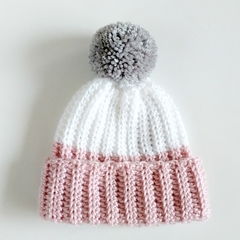 Newborn Dusty Pink White Rib Crocheted Baby Beanie with Grey Pompom