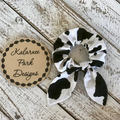 "Hair Scrunchie with Bow ""CowPrint"""