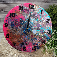 Tick Tock - Mermaid Sparkle Buttons Resin clock - silent motion