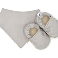 Neutral Grey Baby Soft Sole Baby Shoes and Bandana Bib Set