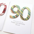 Any Age Personalised card Birthday diagonal stripes