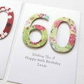 Any Age Personalised card Birthday florals