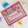 'Sweet' Cerise Birthday Card with Butterflies and Flowers