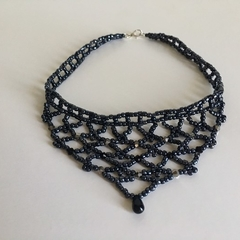 Black Beaded Lace Woven Choker Necklace
