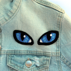Blue Cats Eyes Embroidered Patch, Iron on Patches for Jackets, Blue Eyes Appliqu