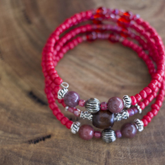 Red Boho Gemstone Wrap Bangle