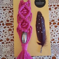 Pink Macrame Handbag Charm