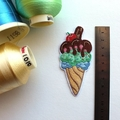 Ice Cream Cone Embroidered and Iron on Patch