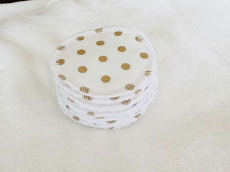 White/Gold Cotton Facial Rounds Makeup Remover Wipes