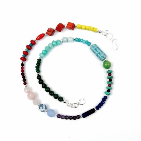 Rainbow Gemstone, Ceramic and Sterling Silver Necklace