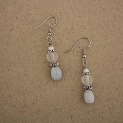 Aquamarine Gemstone Nugget Earrings
