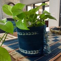 Vintage African indigo  pot plant bucket or storage