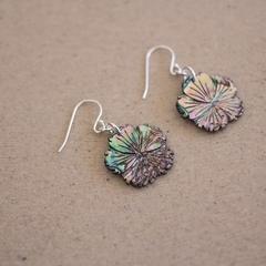 Abalone Shell Carved Flower Sterling Silver Earrings